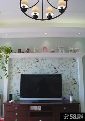 田园风格家居客厅背景墙设计效果图