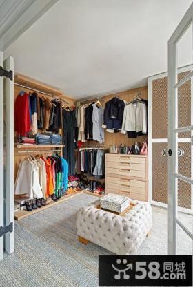 简欧风格设计别墅室内衣帽间图片