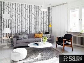 瑞典时尚三室两厅客厅沙发背景墙装修效果图设计