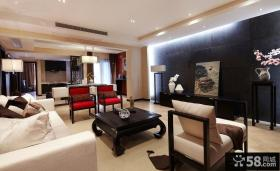 中式客厅电视背景墙效果图片