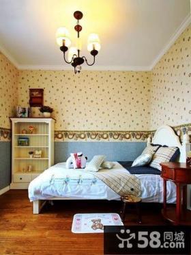 田园风格卧室壁纸装修效果图片