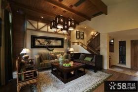 中式田园风格别墅客厅吊顶设计