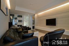 现代复式楼客厅电视背景墙装修效果图欣赏