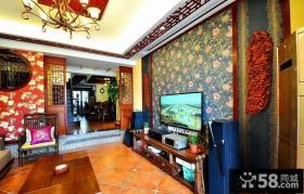 新中式客厅电视背景墙壁纸贴图