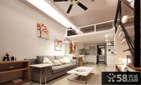 现代简约复式楼客厅吊顶设计