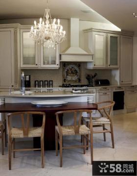 美式风格厨房装修效果图片大全2014