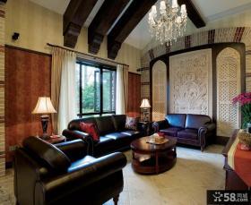 新中式别墅客厅沙发背景墙造型装修效果图