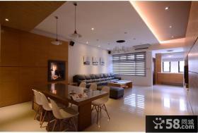 现代简约客厅和餐厅一体图片