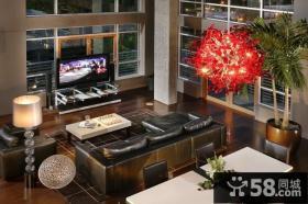 17万打造中式风格客厅电视背景墙别墅装修效果图大全2012图片