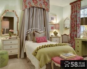 70平米小户型美式田园风格卧室窗帘装修效果图大全2014图片