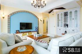 地中海家居客厅背景墙设计图片欣赏