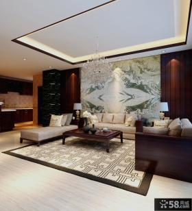 中式客厅沙发背景墙样板房装修