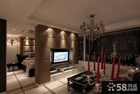 客厅与卧室电视背景墙隔断效果图