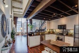 后现代风格复式厨房设计图片