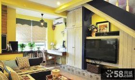 复式小客厅电视墙效果图