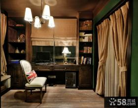 美式风格书房窗帘搭配效果图