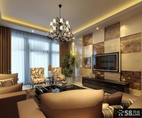 欧式现代家居客厅电视背景墙装修效果图