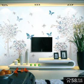 手绘电视背景墙壁纸图片
