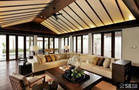 中式别墅客厅吊顶装修效果图大全
