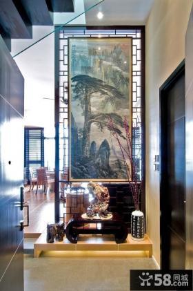 中式风格别墅玄关装饰画图片