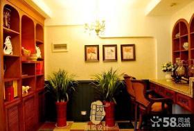美式新古典风格小书房设计效果图