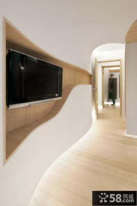 极简主义风格过道电视背景墙装修图片大全