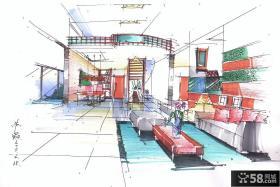 复式楼室内马克笔手绘效果图
