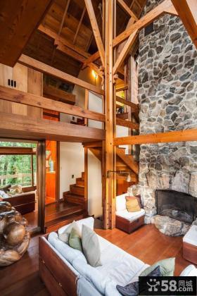 日式仿古风格原木装修复式楼效果图