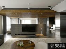 现代设计时尚客厅电视背景墙精装修图片