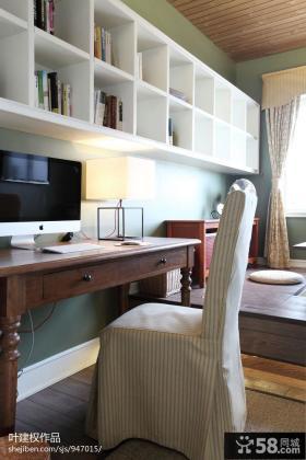现代美式风格书房壁柜效果图