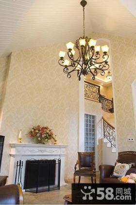 美式别墅客厅墙纸效果图