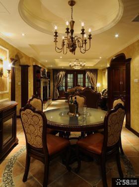 美式新古典风格餐厅铁艺灯效果图