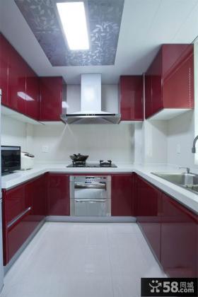U型厨房整体橱柜装修效果图