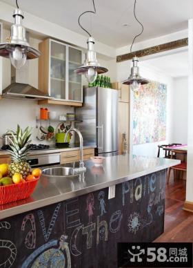 开放式厨房橱柜台面效果图