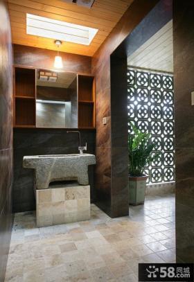 中式卫生间玄关地板砖贴图设计