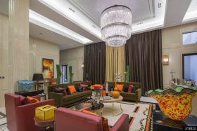 别墅大客厅水晶灯吊顶设计效果图