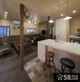 美式乡村风格开放式厨房吧台效果图