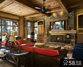 复古装修设计客厅电视背景墙效果图