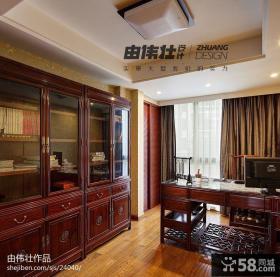 中式复式楼书房书柜装修效果图大全2013图片