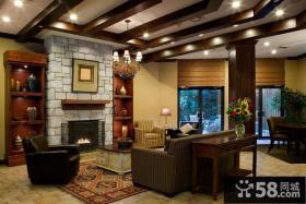 美式风格别墅客厅有梁吊顶效果图