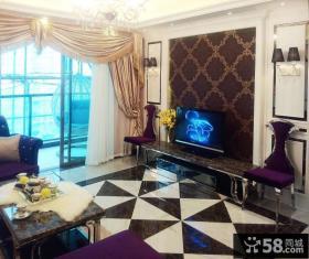 新古典风格客厅壁纸电视背景墙效果图