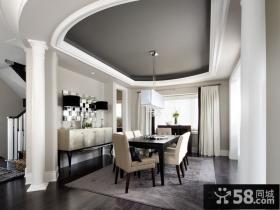 简单但是奢华的现代风格餐厅吊顶装修效果图大全2014图片