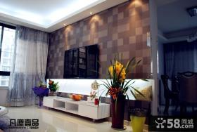 70平米小户型客厅壁纸电视背景墙装修效果图