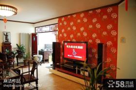中式电视背景墙墙纸装修效果图