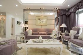 三室两厅简欧客厅沙发背景墙装修效果图