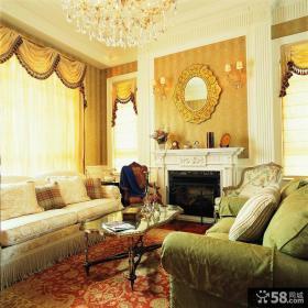 美式田园风格别墅客厅效果图欣赏