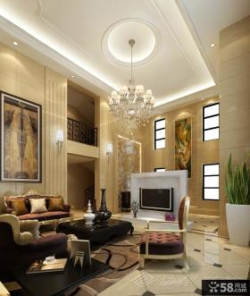 别墅客厅电视背景墙装修效果图图片