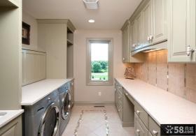 美式乡村风格别墅厨房整体橱柜图片