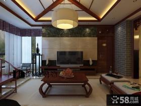 新中式客厅电视背景墙装修设计图片