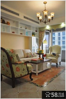 欧式田园风格家装客厅设计效果图